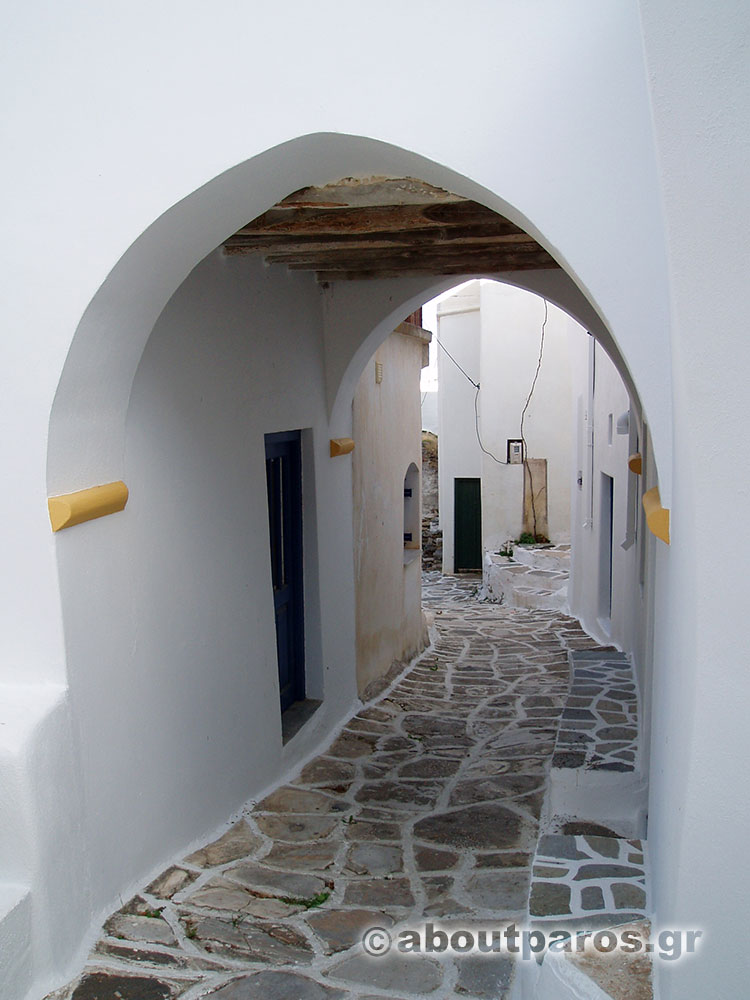 An alley with arches