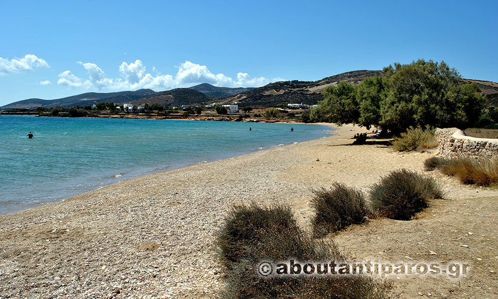 Beach with golden sand at Antiparos