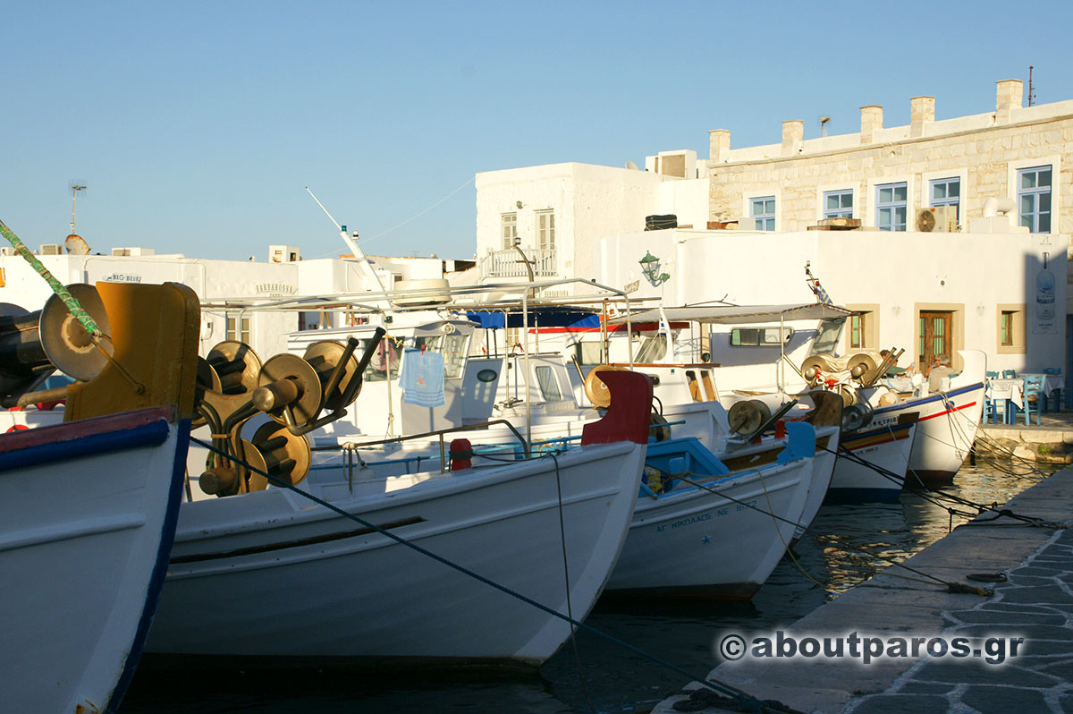 Traditional fishing boat at the picturesque port of Naoussa