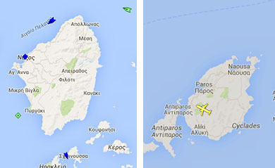 The position of the ships and airplanes at Paros and the surrounding area