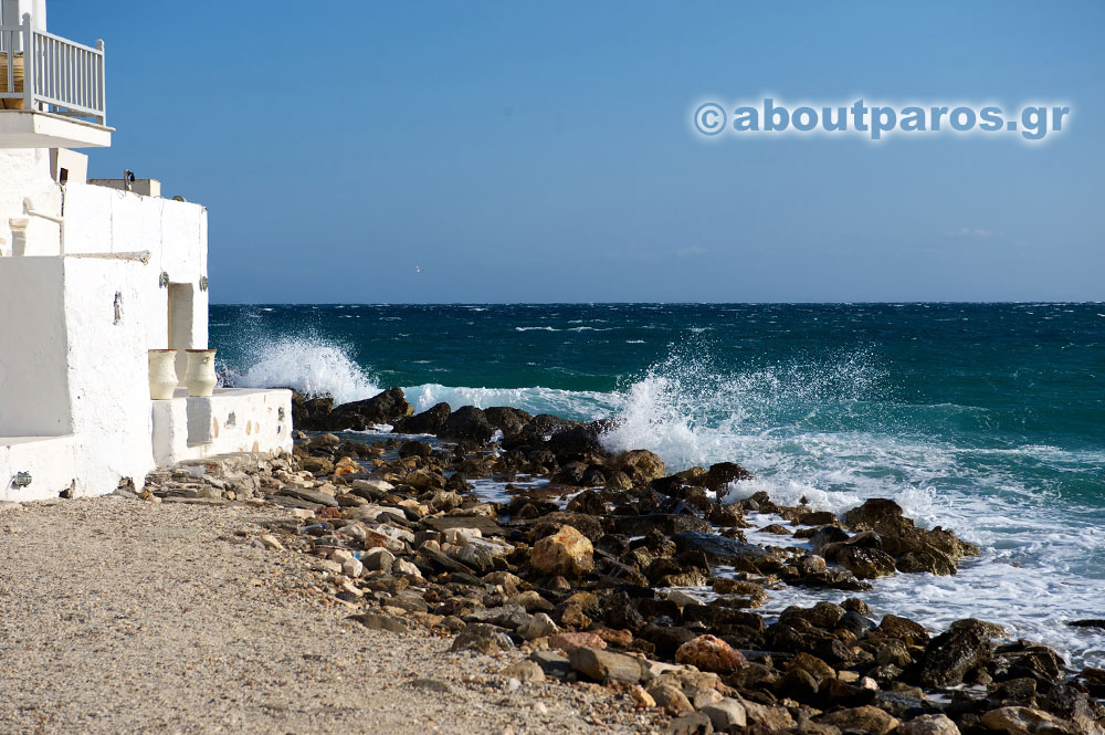 Stormy sea in winter in Paros