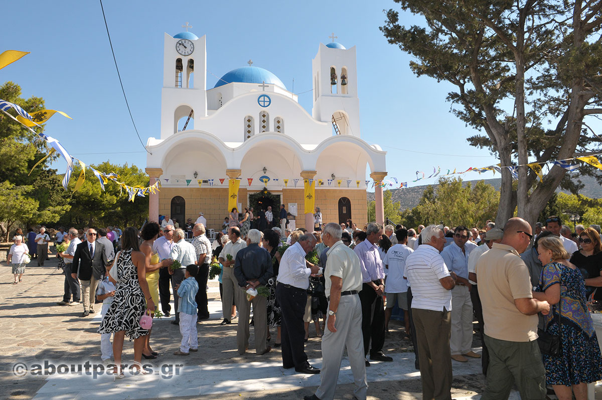 People outside the church waiting for the icon before the Divine Liturgy