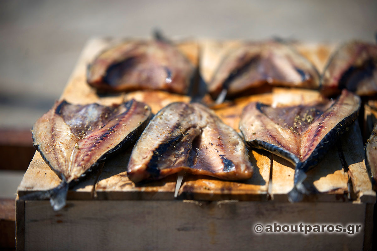 The traditional sun dried fish -gouna- of Paros